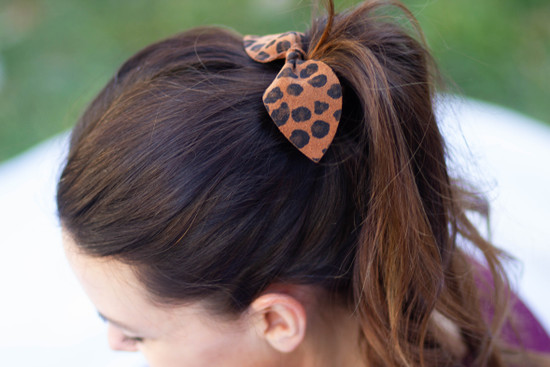 Blue polka dot Leather Hair Bow Ponytail