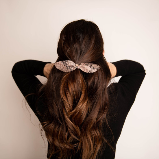 Desert Reptile Leather Hair Bow Ponytail