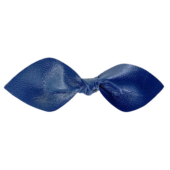 Navy Blue Leather Bow Clip