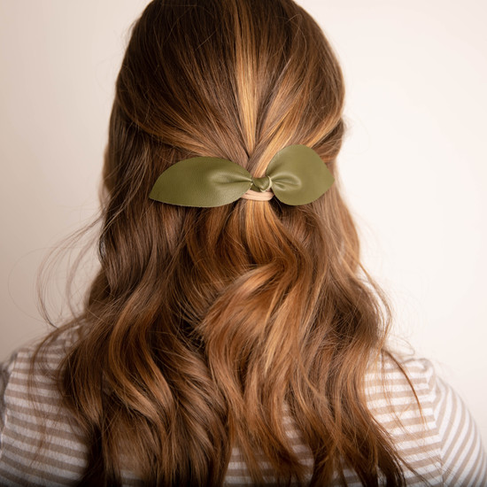 Olive Leather Hair Bow Ponytail