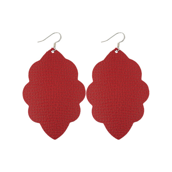 Red Large Solid Leather Earring