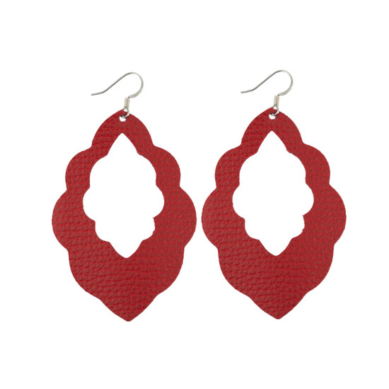 Red Cut-Out Leather Earrings