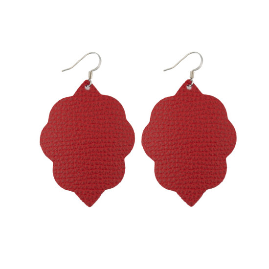 Red Small Leather Earring