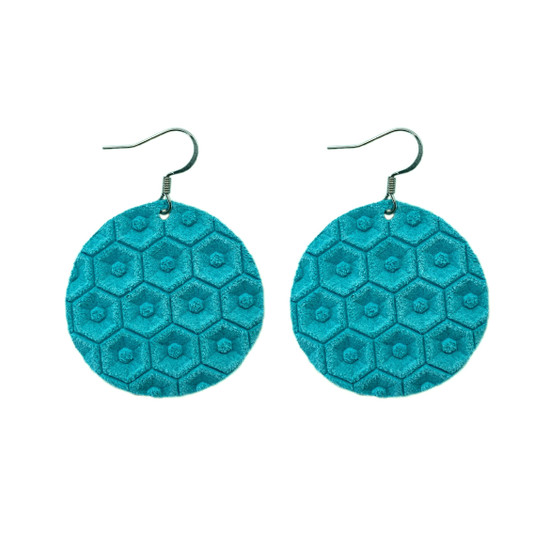 Turquoise Halo Leather Earring