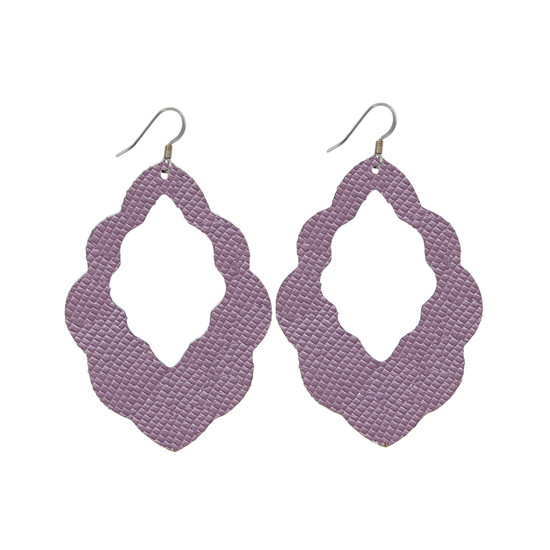 Light Lilac  Cut-Out Leather Earrings