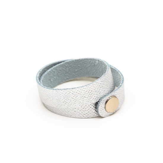 Textured Silver Leather Wrap Bracelet