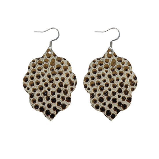 Cobble Stone Small Leather Earring