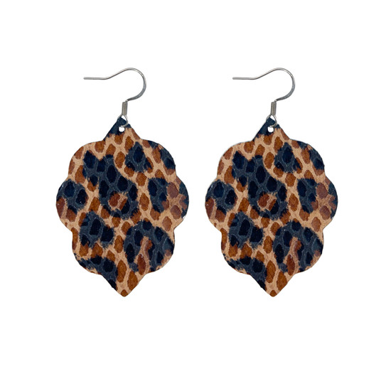 Spotted Leopard Small Leather Earring
