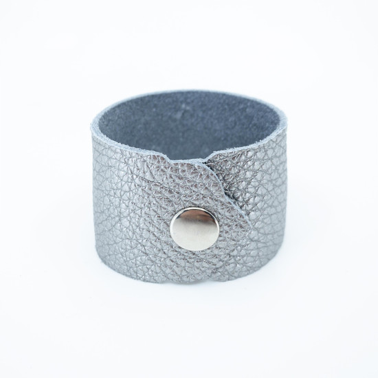 Charcoal Shimmer Leather Cuff