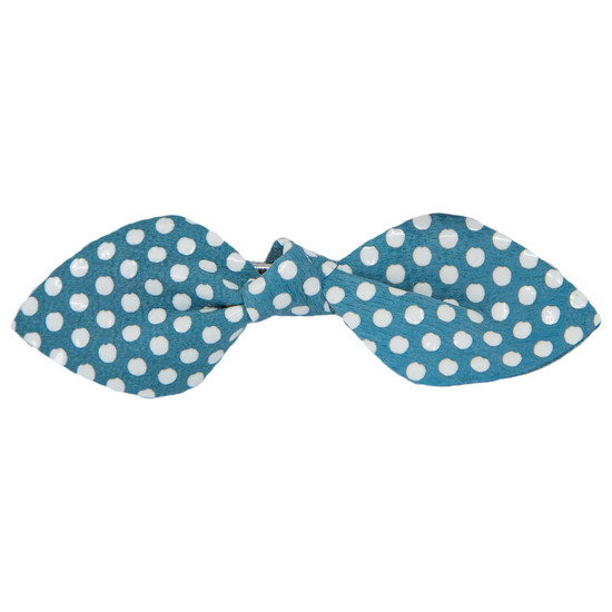 Blue Polkadot Leather Bow Clip