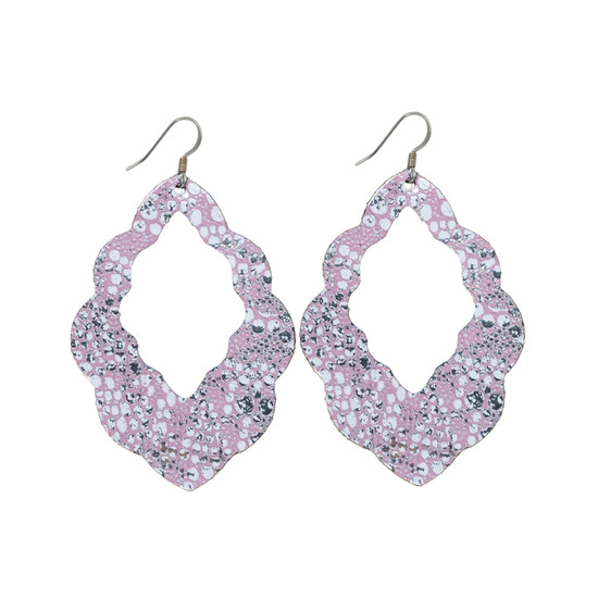 Sweet Pink Cut-Out Leather Earrings