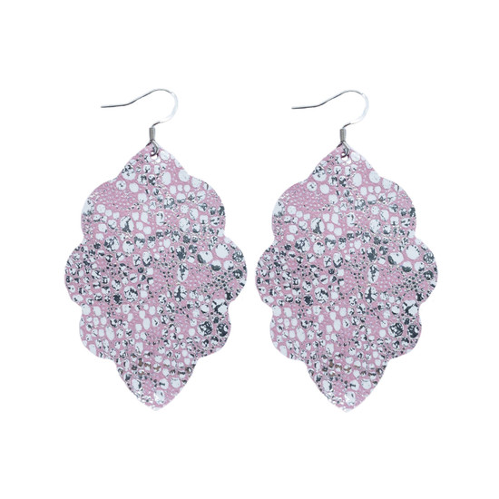 Sweet Pink Large Solid Leather Earring