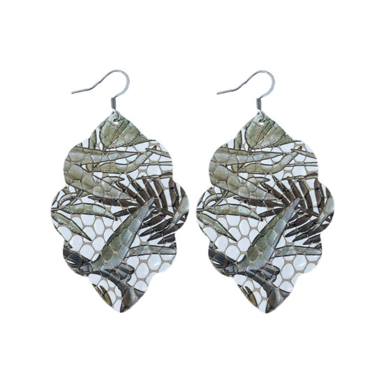 Bronze Tropic Large Solid Leather Earring
