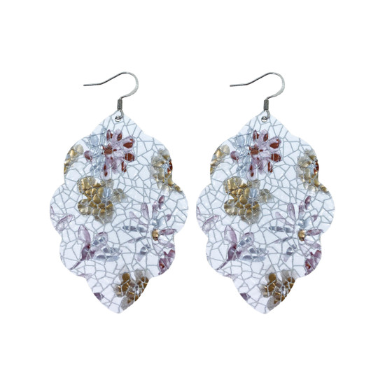 Lilac Floral Large Solid Leather Earring