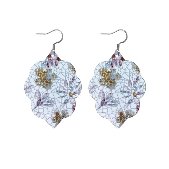 Lilac Floral Small Leather Earring