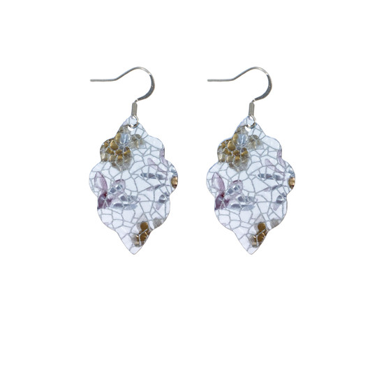 Lilac Floral Mini Leather Earring