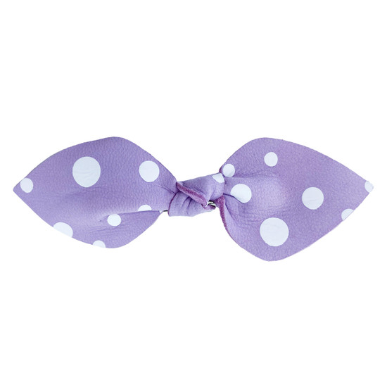 Purple Dottie Leather Hair Bow Ponytail
