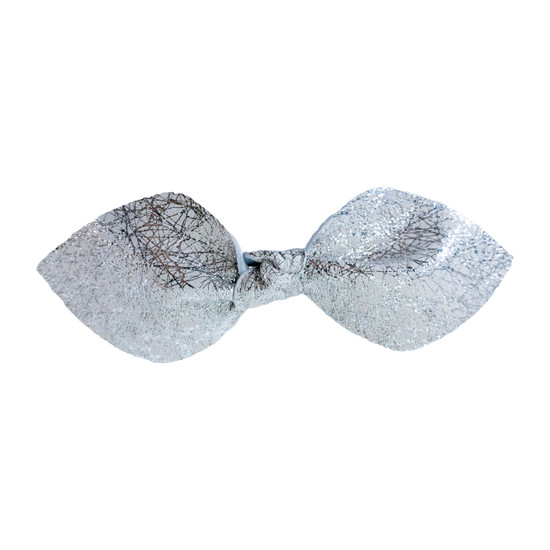 Silver Shimmer Leather Hair Bow Ponytail