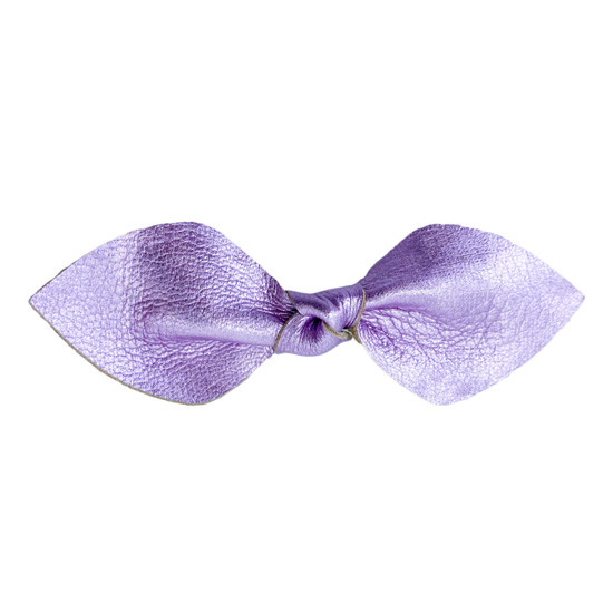 Velvet Violet Leather Hair Bow Ponytail