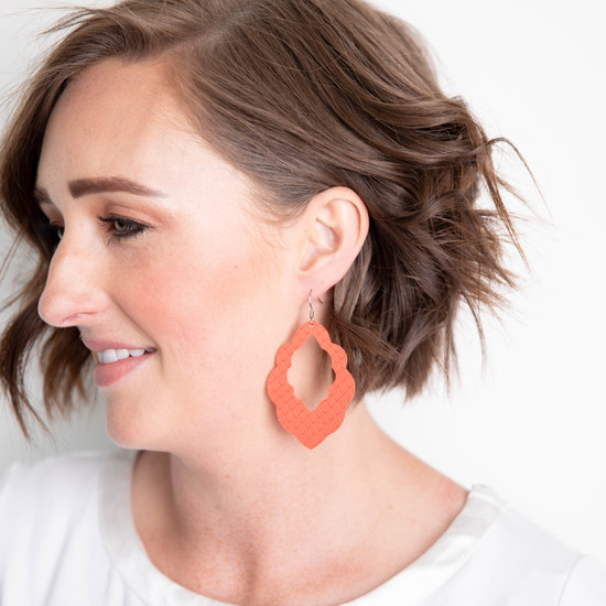 Coral Cut-Out Leather Earrings