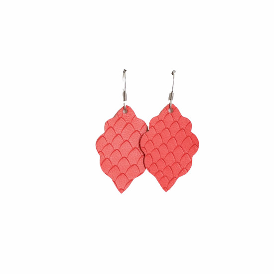 Coral Mini Leather Earring