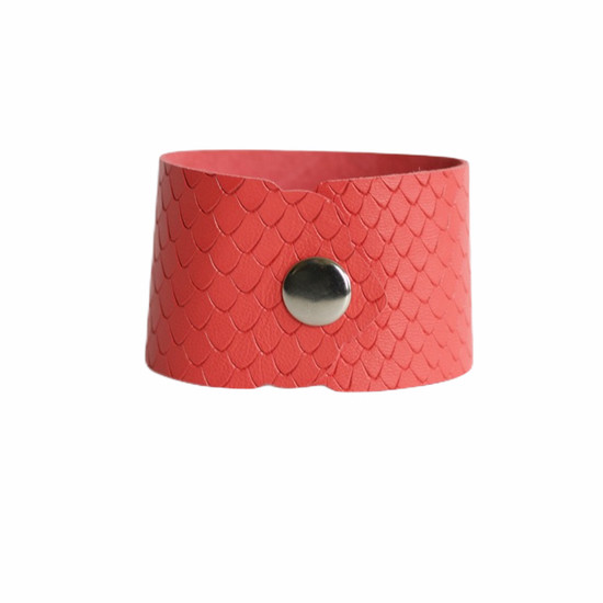 Coral Leather Cuff