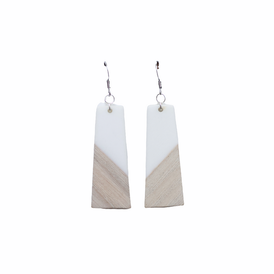 White & Wood Earring