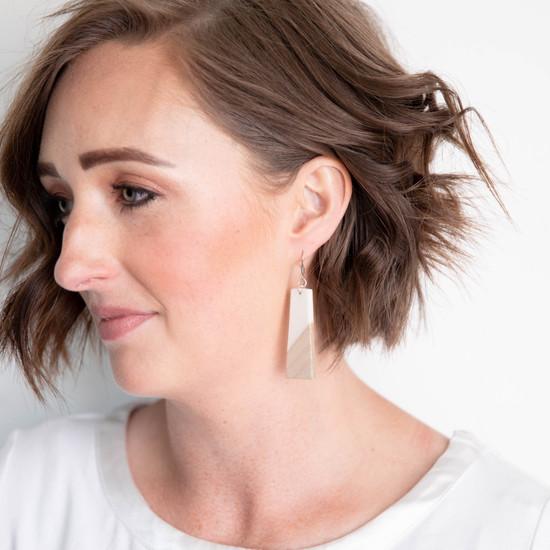 White & Wood Earring
