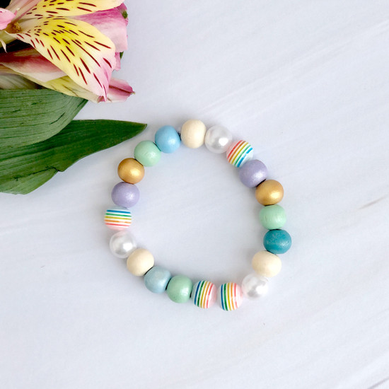 Rainbow Beaded Bracelets (child size)