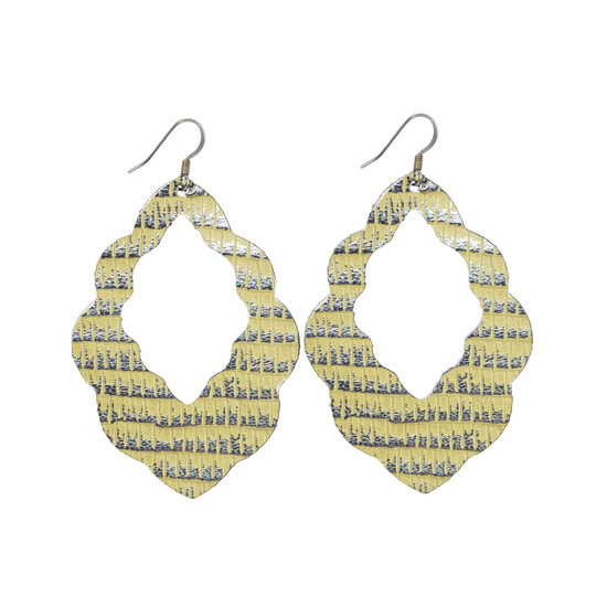 Yellow & Silver Leather Earring Set