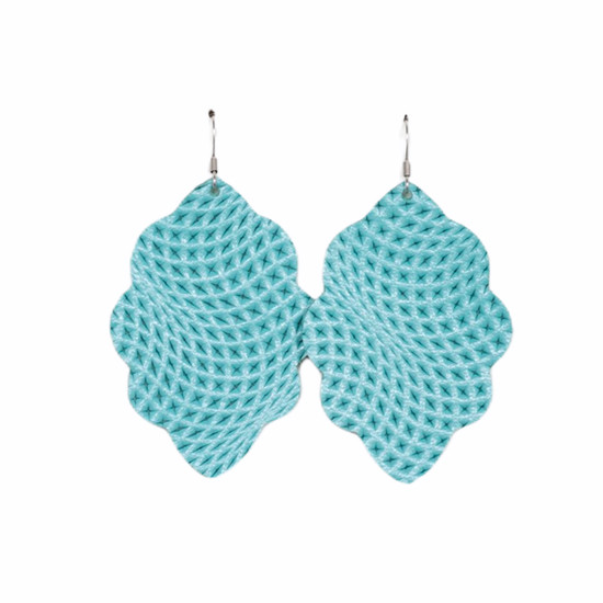 Caribbean Blue Large Solid Leather Earring