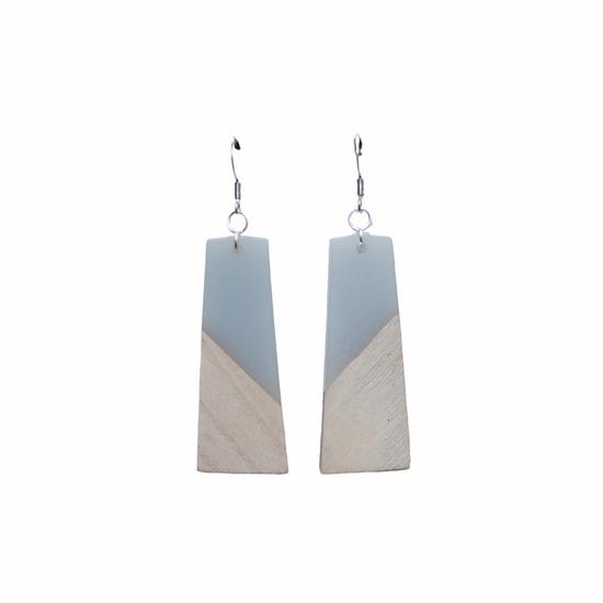 Grey & Wood Earring