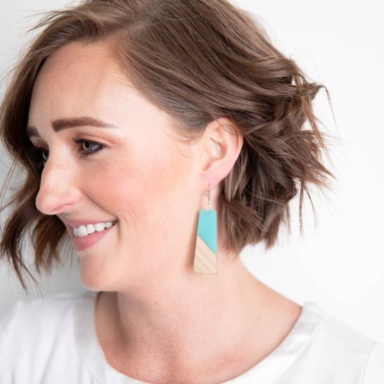 Aqua & Wood Earring