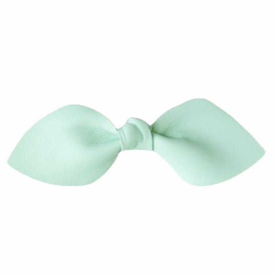 Mint Leather Hair Bow Ponytail