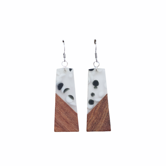 Dotted Wood Earring