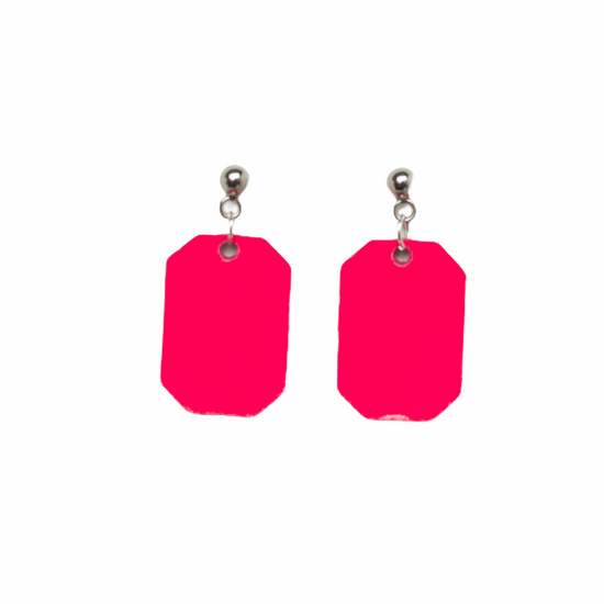 Neon Pink New York Leather Earring Set