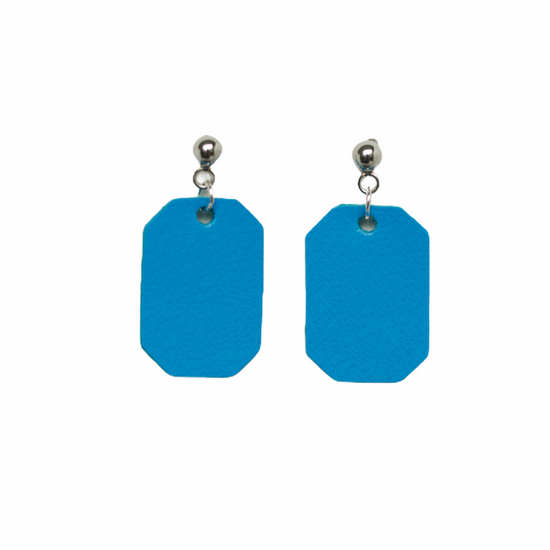 Neon Blue New York Leather Earring Set