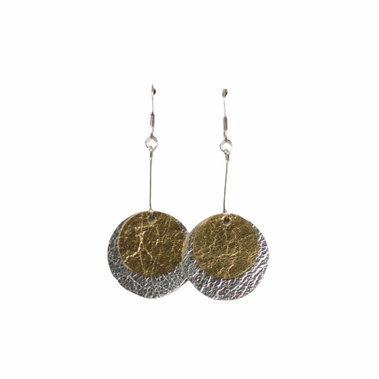 Silver & Gold Layered Drop Earring