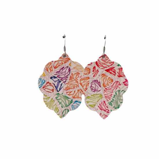 Water Color Rose Small Leather Earring