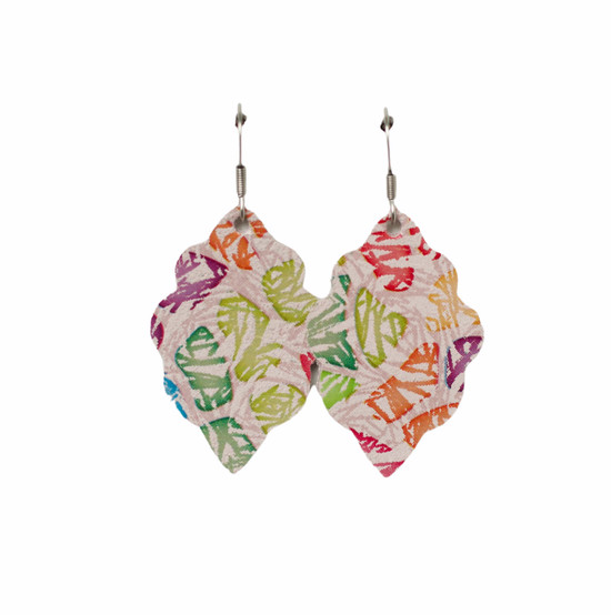 Water Color Rose Mini Leather Earring