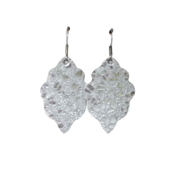 Silver Mosaic Mini Leather Earring