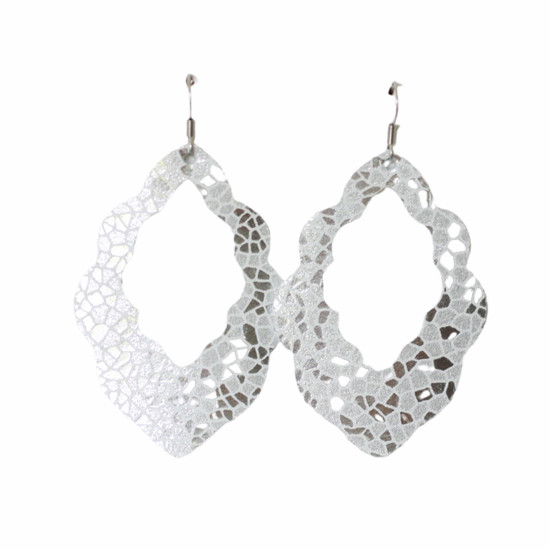 Silver Mosaic Cut-Out Leather Earrings
