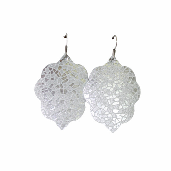 Silver Mosaic Small Leather Earring