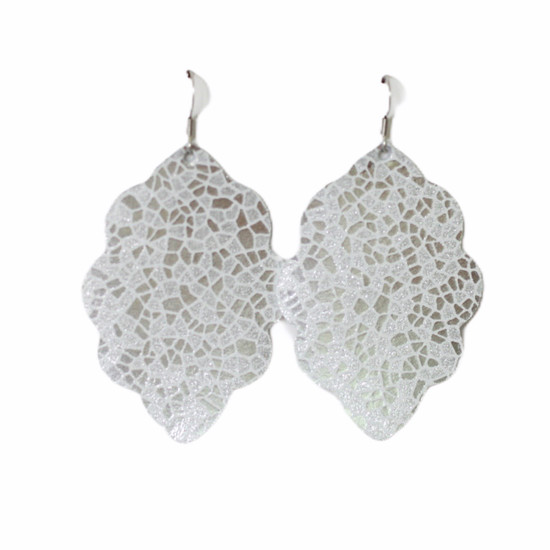 Silver Mosaic Large Solid Leather Earring