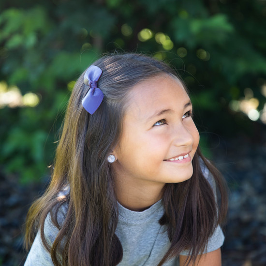 School Color  Leather Bow Clip