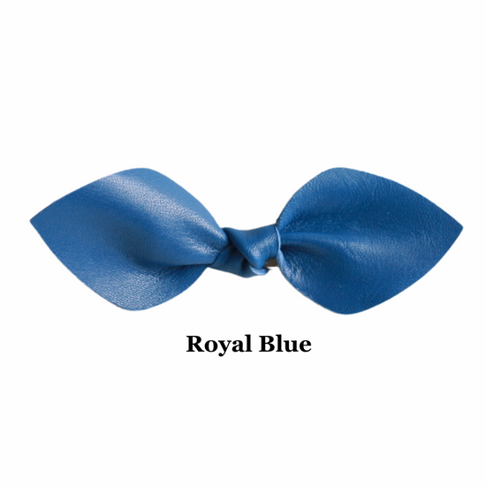 School Color Leather Hair Bow Ponytail
