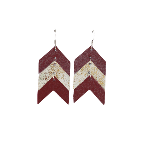 Burgundy & Tiramisu Chevron Leather Earring