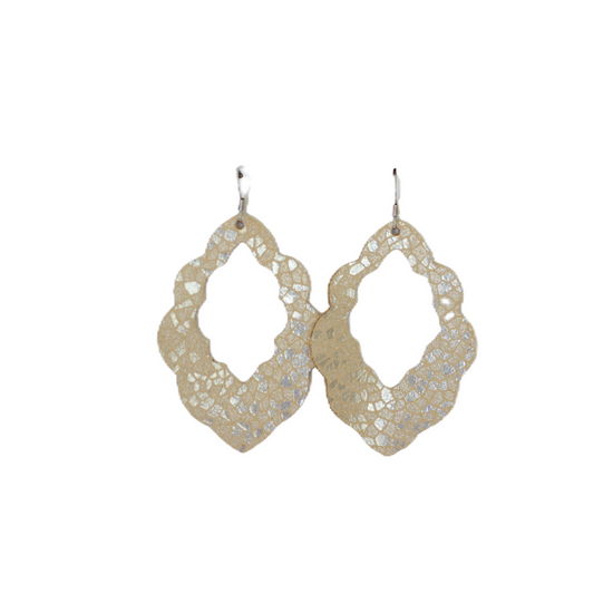 Cream Mosaic Leather Earring Set