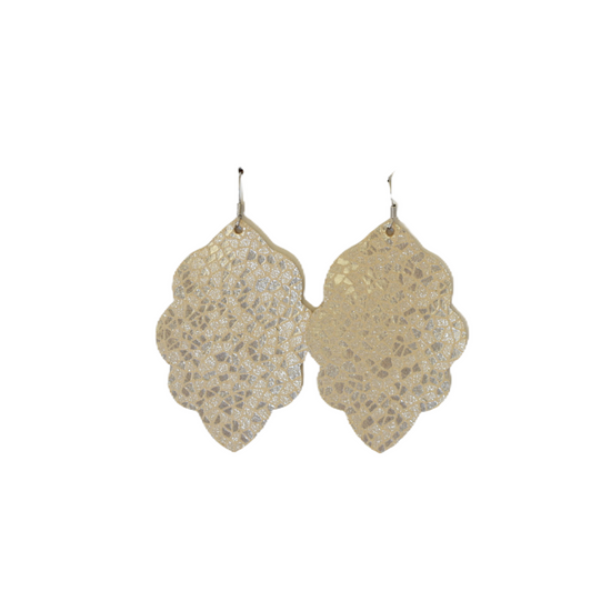 Cream Mosaic Large Solid Leather Earring