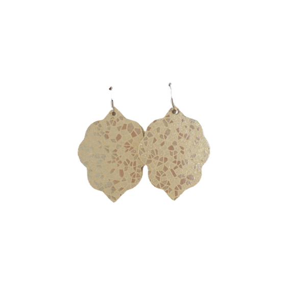 Cream Mosaic Small Leather Earring